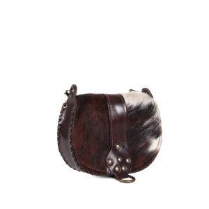 Mini crossbody bag in fur with studs side view
