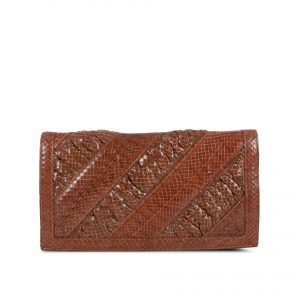 Snakeskin handbag with shirring