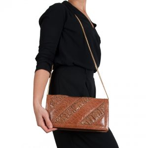 Snakeskin handbag with shirring model