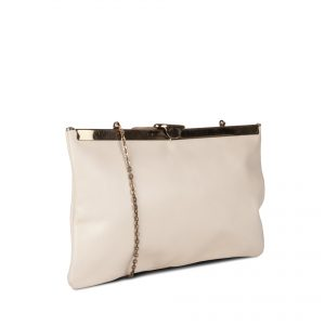 Bolso Etra tipo clutch beige lateral