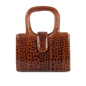 Handbag with double handle in exotic skin