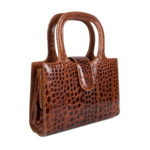 Handbag with double handle in exotic skin side view