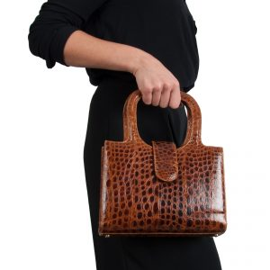 Handbag with double handle in exotic skin model