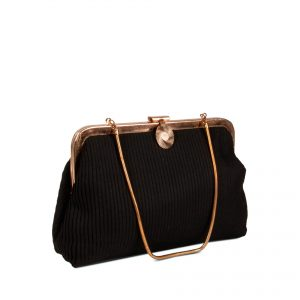 Clutch bag in pleated fabric side view