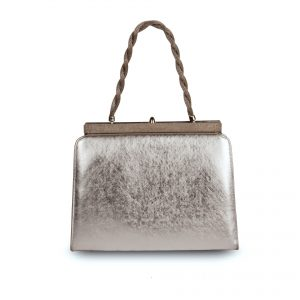 Clutch bag with silver-coloured metallic finish