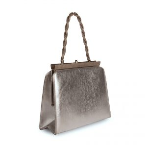 Clutch bag with silver-coloured metallic finish side view