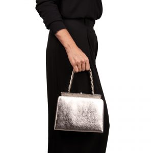 Clutch bag with silver-coloured metallic finish model